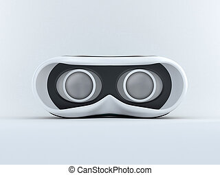 Glasses for virtual reality in 3D. Front view with screen...
