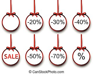 Sale labels with red gift bows.