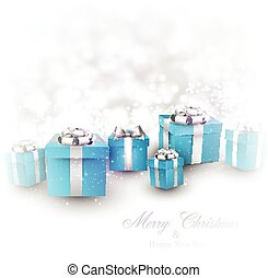 Winter background with blue christmas gifts - Winter...