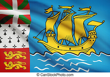 Flag blowing in the wind series - Saint-Pierre and Miquelon