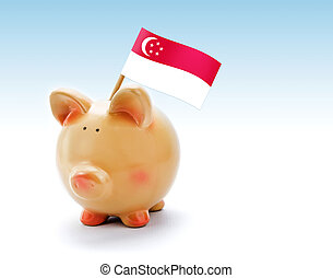 Piggy bank with national flag of Singapore