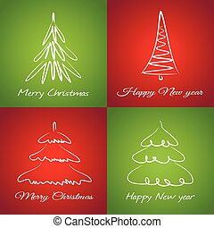 Cards with christmas trees
