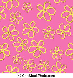 Flat cute flowers with shadow, vector seamless pattern