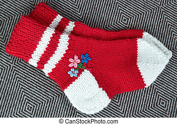 pair wool knitted socks - clouseup pair of wool knitted...