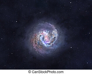 Spiral galaxy with bright core and arms