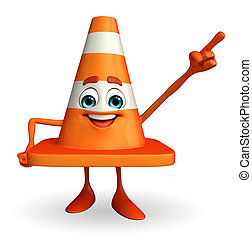 Construction Cone Character with pointing pose - Cartoon...