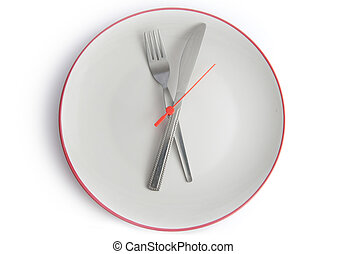 Meal time - Plate with fork and knife as clock hands
