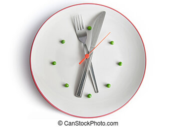 Meal time - Plate in the form of a clock using cutlery