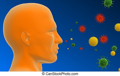 pollen allergy - 3d rendered illustration of a human head...