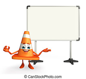 Construction Cone Character with display board - Cartoon...