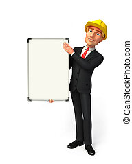 Young Business Man with display board - Illustration of...