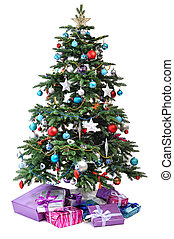 Christmas tree with gifts - decorated Christmas tree with...
