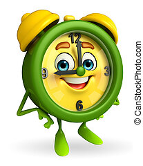 Table clock is standing - Cartoon Character of table clock...