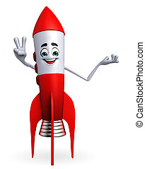 Rocket character with victory sign - Cartoon character of...