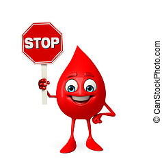 Blood Drop Character with stop sign - Cartoon Character of...