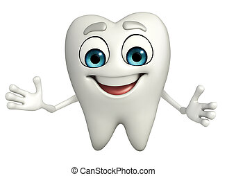 Teeth character is Shake hand - Cartoon character of teeth...