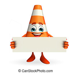 Construction Cone Character with sign - Cartoon Character of...