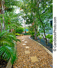 Garden and pebbled pathway