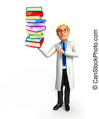 Young Doctor with books - Illustration of young doctor with...