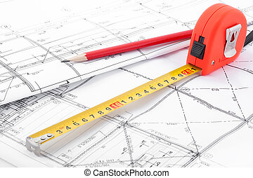 Tape measure in perspective - Architectural drawings, a tape...