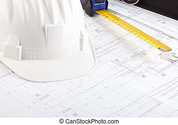 Protective helmet and tape measure - Protective helmet and...