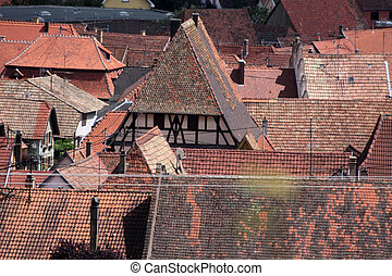 Village with red tiled roofs