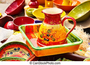 Colorful ceramic bowls ready for sale on the market