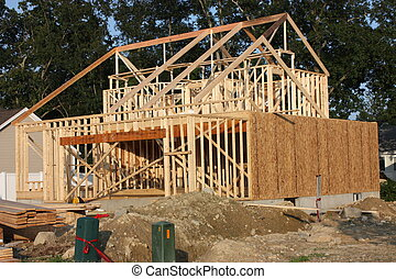 A new house under construction in the suburbs.