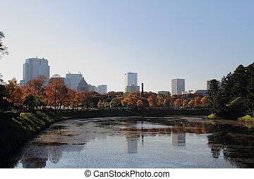 Moat of Edo Castle in Tokyo, Japan