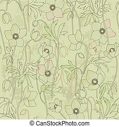 Seamless floral background with anemones, vector vintage...