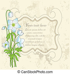 Floral greeting card with a bouquet of white anemones. Can...