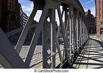 Speicherstadt - detail of the old Speicherstadt in the...