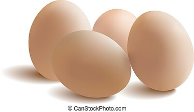eggs with reflection on white background