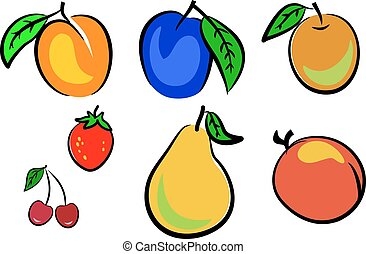 Collection vector fruits