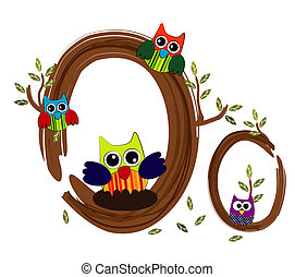 Wood Letter O Owl Vector