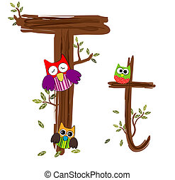 Wood Letter T Owl Vector