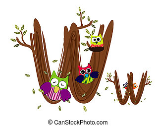 Wood Letter W Owl Vector