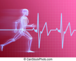 running skeleton - 3d rendered illustration of a running man...