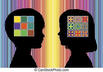 cor, percepção, de, crianças,