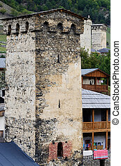 Mestia fortified tower,famous medieval architectural landmark