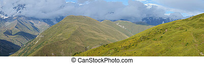 Panorama of Caucasus mountains in Upper Svanetia, historic...