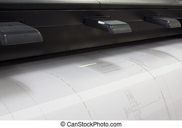 CAD Plotter - A CAD plotter printing a drawing shot from the...
