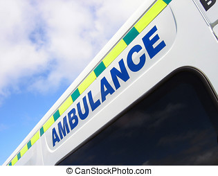 Emergency services - Close-up of ambulance sign against blue...