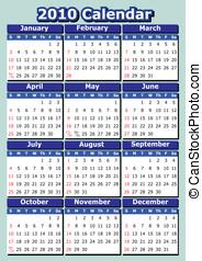 English 2010 vector calendar