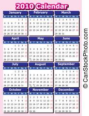 English 2010 vector calendar.