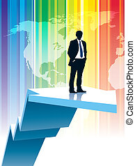 Going up - Successful businessman is standing on a large...