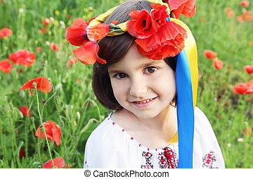 Girl in Wreath with Ukrainian Flag Yellow and Blue Ribbons