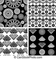 seamless pattern from diamond - Vector set of seamless...