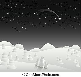 Winter Christmas card landscape with falling star vector eps...