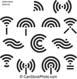 radio waves - set of different wireless and wifi symbols....